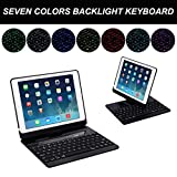 Efaster Stand Case with Built-in Wireless Bluetooth Keyboard for iPad 9.7 Inch 2017 (Black)