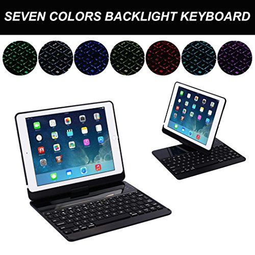 Efaster Stand Case with Built-in Wireless Bluetooth Keyboard for iPad 9.7 Inch 2017 (Black) by Efaster(tm)