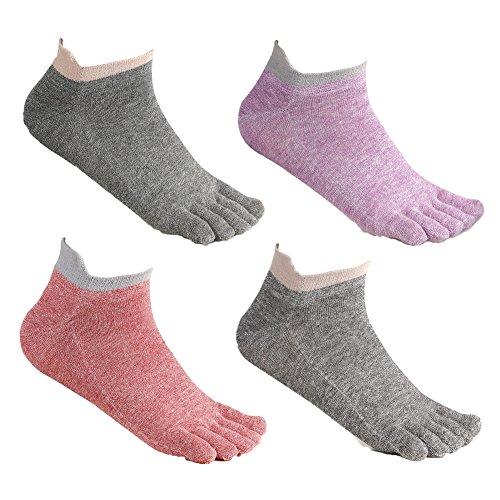 Womens Toe Socks Low Cut Five Finger Socks Lightweight 4 Pack by Meaiguo