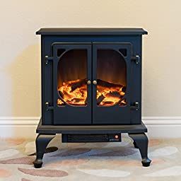 Townsend Free Standing Electric Fireplace Stove - 24 Inch Black Portable Electric Vintage Fireplace with Realistic Fire and Logs. Adjustable 800-1500W 400 Square Feet Space Heater Fan