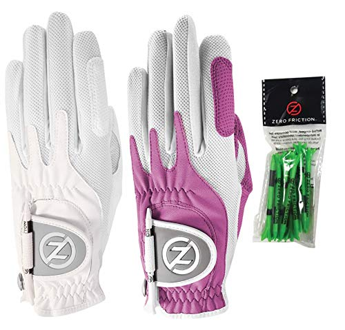 (Zero Friction Ladies Compression-Fit Synthetic Golf Glove (2 Pack with Free Pack of tees), Universal Fit One Size,)