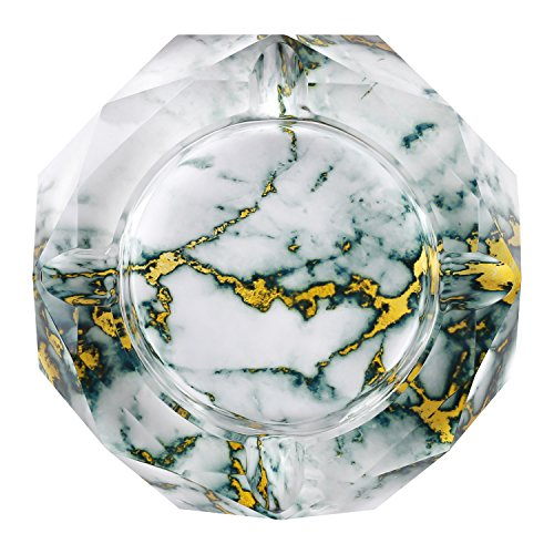 Kufox Marbling Crystal Cigarette Ashtray, Colorful Octangle Shape Glass Ash Holder Case with 4 Grooves, Decorative Tabletop Smoking Ash Tray for Indoor and Outdoor (Bluish ()