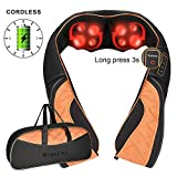 Triducna Cordless Neck and Shoulder Massager with Heat, Rechargeable Shiatsu Back Massager