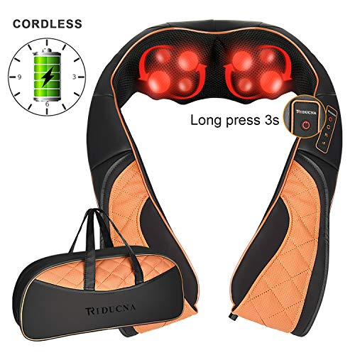 Cordless Neck and Shoulder Massager with Heat, Rechargeable Shiatsu Back Massager with Deep Tissue & 3D Kneading Massage for Neck Back Shoulder and Full Body Fatigue Relief, Free Bag Included