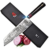 TUO Cutlery Kiritsuke knife 8.5 inch, Nakiri Vegetable Cleaver kitchen knife with Ergonomic G10 Handle, Japanese AUS-10 High Carbon Rose Damascus Stainless Steel - RING R Series