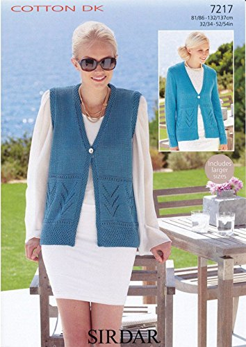bc98f77b2736 Image Unavailable. Image not available for. Colour  Sirdar Ladies Cardigan    Waistcoat Cotton Knitting Pattern 7217 DK