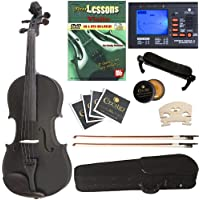 Cecilio CVN-Black Ebony Fitted Solid Wood Violin with Tuner and Lesson Book, Metallic Black, Size 4/4 (Full Size)