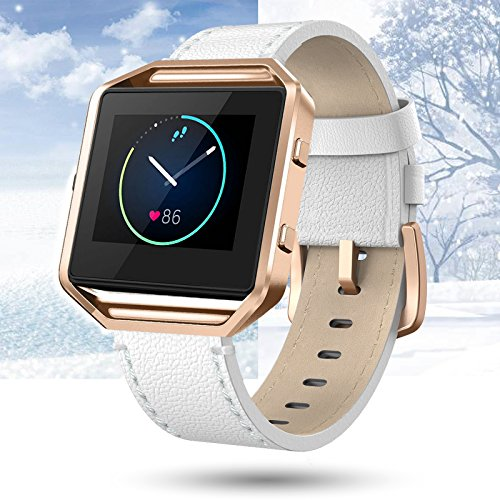 "Fitbit Blaze Bands Leather with Frame Small Large (5""-8.2""), Swees Genuine Leather Replacement Band with Silver/Rose Gold/Black Metal Frame for Fitbit Blaze Women Men, Black, Brown, White, Pink, Blue"