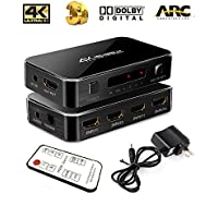 Ebetter HDMI switch,Intelligent 4X1HDMI Switch with Audio Optical,4K Ultra HD 4 Port 4Kx2K HDMI switcher Box Selector Audio Extractor Splitter with IR Remote[Support ARC,3D,1080p]for HDTV Xbox ect