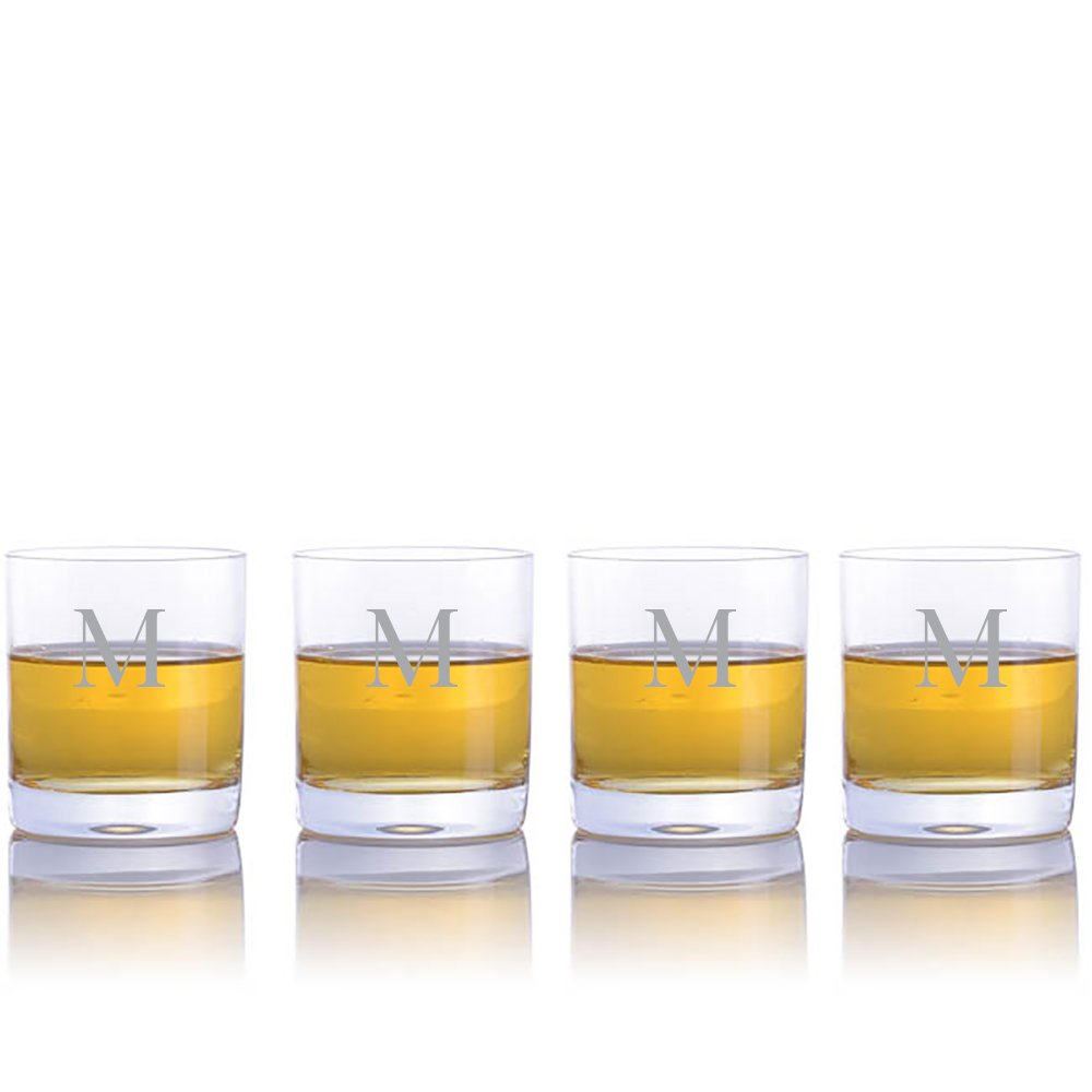 Personalized Waterford Crystal Vintage Double Old Fashioned Tumbler Glasses - 4pc Set- Engraved & Monogrammed - Great for Groomsmen or Home Bar - Great Gift for Mother's Day, Weddings and Groomsmen