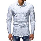 Men's Casual Shirt Pattern Crackle Printed Cool Long Sleeve Dress Collar Shirt Zulmaliu (L, White)