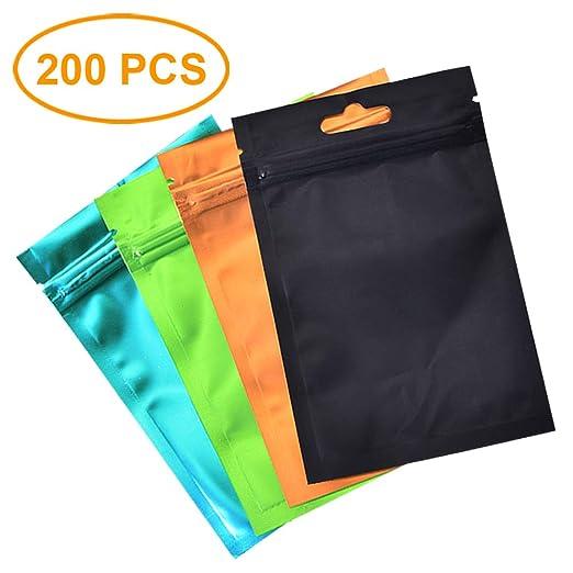 200 Piezas Pequeñas Bolsa de Papel de Aluminio Bolsa con Cierre zip Mylar Bags para Tuercas, Hojas de Té, Galletas (8,5 x 12 cm)