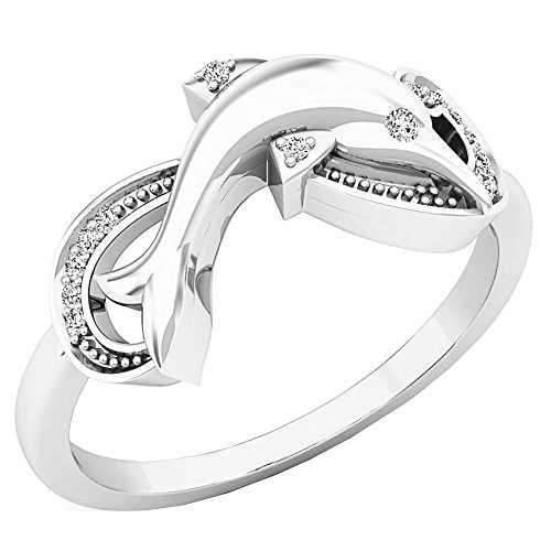 White Dolphin Ring Gold (0.08 Carat (ctw) 10K White Gold Round Cut White Diamond Ladies Right Hand Dolphin Ring)