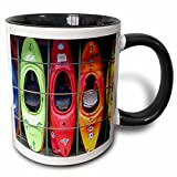 3dRose mug_3164_4 Kayak Two Tone Black Mug, 11 oz,...