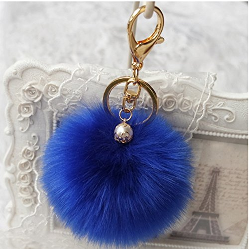 Manual original Gold Plated Keychain,bag car decoration,Ball Pom Key chain for Car Key Ring & Handbags & Tote Bags ,Pendant Charm (Blue)