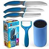 Kids Knife Set For Cooking - 5 Piece Kids Cook Set in blue - Kids Cooking Supplies, 4.5' Kids Chef Knife, 4' Kids Paring Knife, Ceramic Peeler, 3.5' Kids Serrated knife & Universal Holder - TruChef
