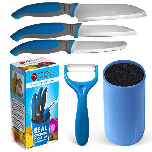Kids Knife Set For Cooking - 5 Piece Kids Cook Set in blue - Kids Cooking Supplies, 4.5