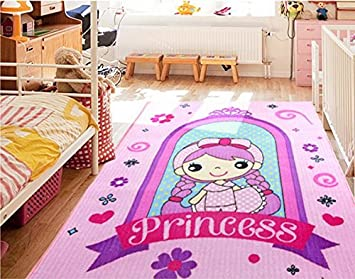 Amazon Com Cartoon Cinderella Princess Girls Bedroom Rugs Pink Rug
