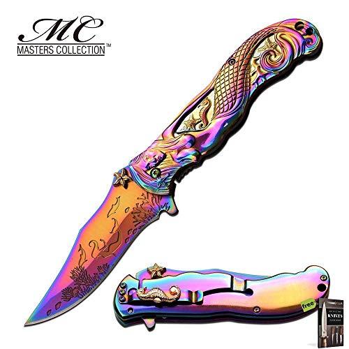 Hibben Chrome Knife - SPRING-ASSIST FOLDING POCKET KNIFE Rainbow Chrome Mermaid Ocean Women MC-A013RB Knife + Free eBook by SURVIVAL STEEL