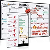 Magnetic Dry Erase Calendar for Refrigerator 2 Pack 2018-2019 Monthly & Weekly Planner Fridge Calendars Kitchen Organizer Strong Magnets Large Organizing Whiteboard to Do List Meal Board for Family