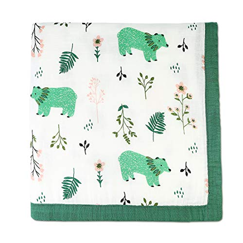 (Muslin Swaddle Blanket Soft Bamboo Cotton Baby Swaddle Wrap for Boys and Girls (Happy Bear))