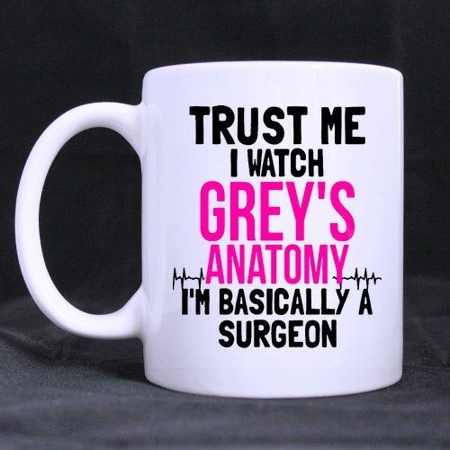 Gift Box Ceramic (Trust Me, I Watch Grey's Anatomy, I'm Basically A Surgeon Mug Funny Novelty Ceramic Tea Coffee Mug with Gift Box (11oz))