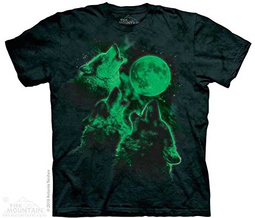 The Mountain Men's Three Wolf Moon Short Sleeve T-Shirt,Glow in the Dark Green, Adult Large