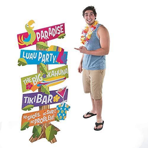 Luau Directional Sign for Tropical Party (5 Signs like Tiki Bar, ect) ()