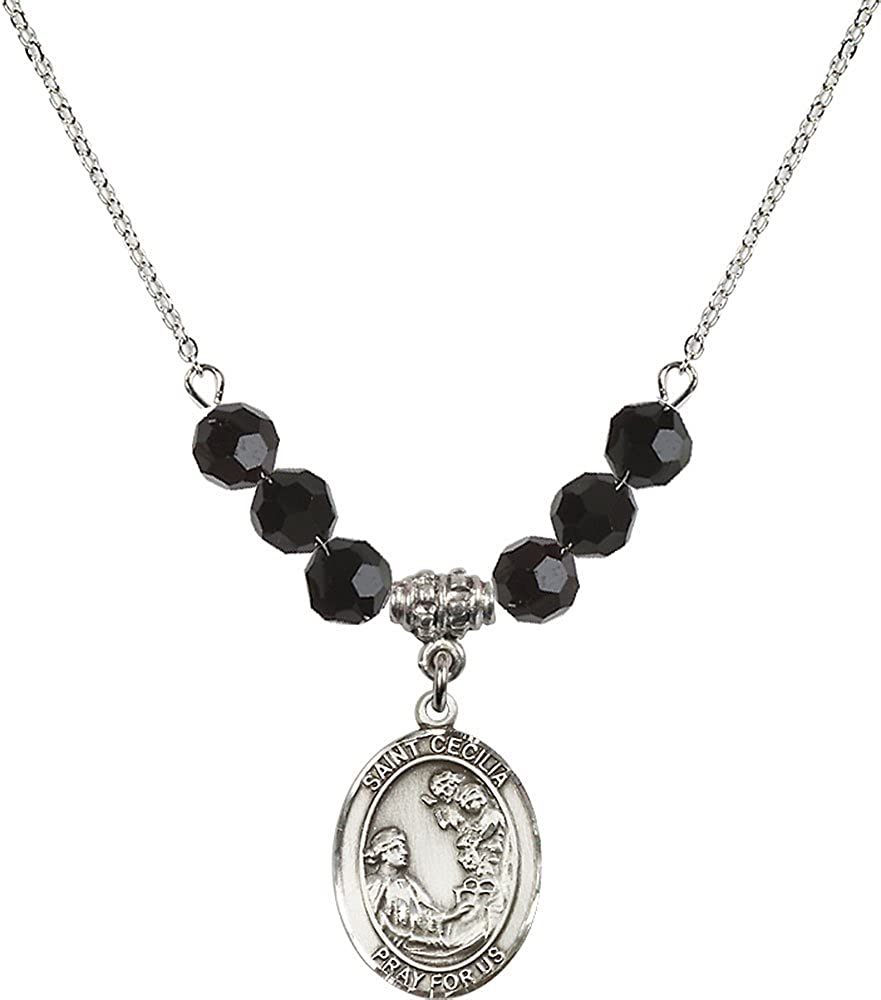 18-Inch Rhodium Plated Necklace with 6mm Jet Birthstone Beads and Sterling Silver Saint Cecilia Charm.