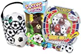 "Soccer Themed Easter Basket with 6"" Toy Soccer Ball, Milk Chocolate Soccer Hollow Bunny, Cadbury Eggs (Hidden in Tiny Soccer Balls), and Sports Shaped Easter Egg Collection!"
