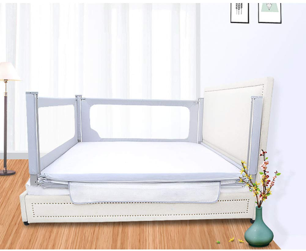 Baby 3-Side Safety Bedrail, 79cm High Bed Rails for Toddlers Portable Bed Rail Bumper for Infant, Sleep Mesh Fence- Grey Color (Color : 1.8+2+2m) by Baby Bed Rail (Image #5)