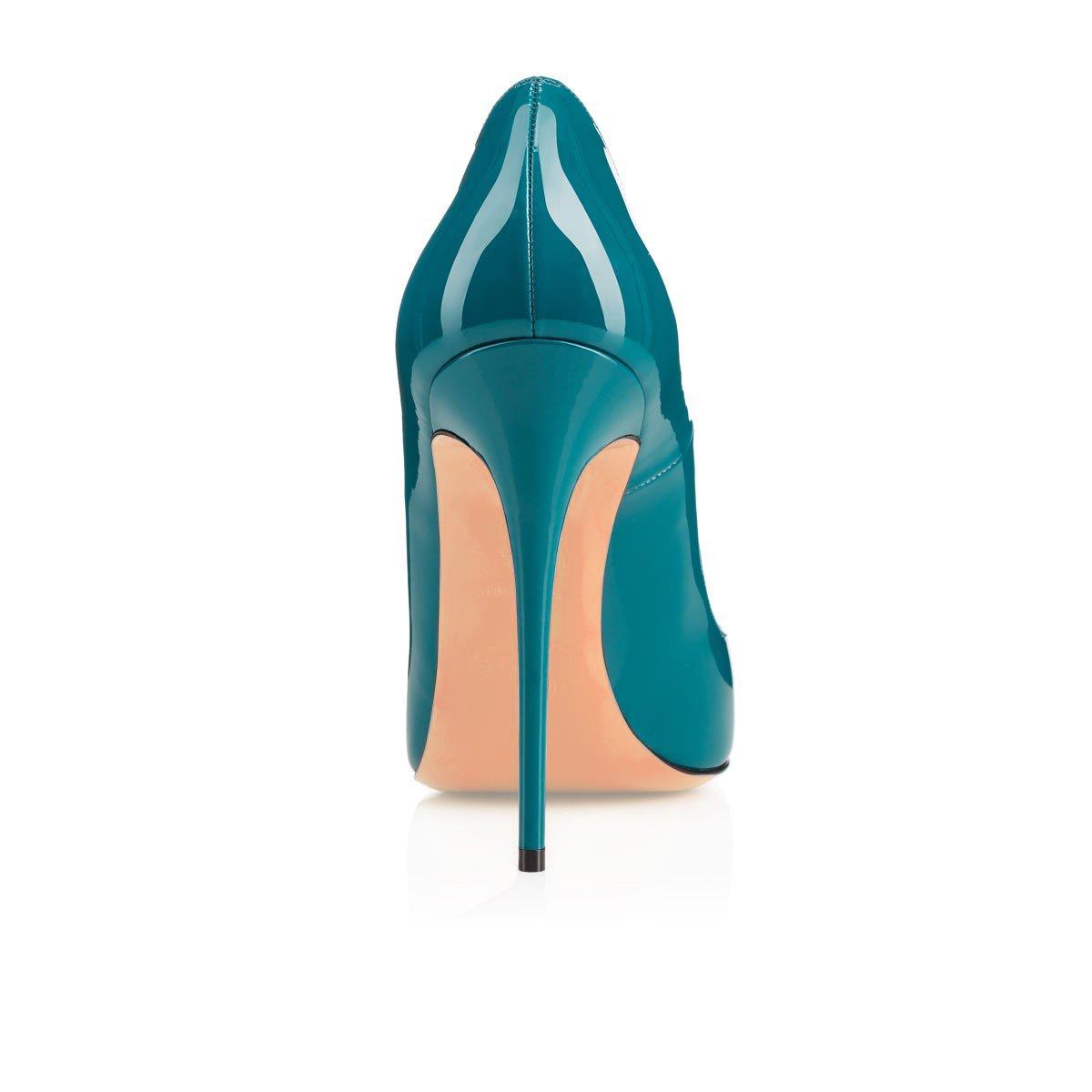 Eldof Womens High Heel Pumps Classic 4.72in Slip On Patent Pointed Toe Stilettos 12cm Wedding Party Dress Pumps