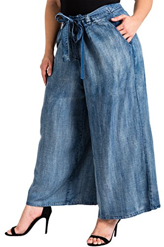Standards & Practices Plus Size Modern Womens Cropped Tencel Denim Palazzo Pants Size 18