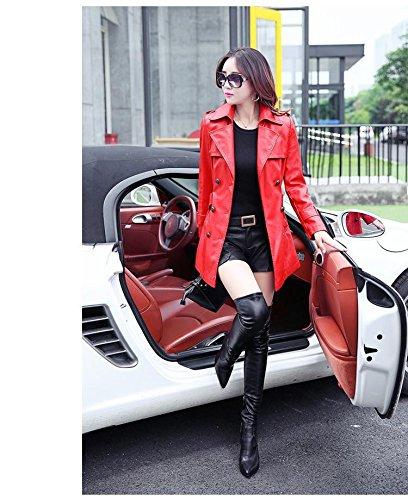 Veste Manteau Bigood Faux Mode avec Cuir Femme Ceinture Automne Rouge Hiver x1aqUCBna