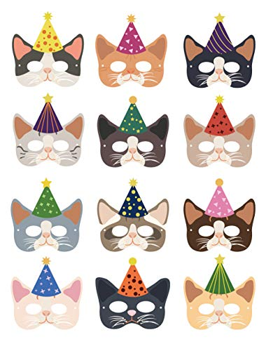 Cat Party Supplies Decorations, Since1989 12 Pcs Cat Masks Kitten Masks for Cat Themed Birthday Party Supplies Decorations, Cat Theme Party Dress-Up Customes for