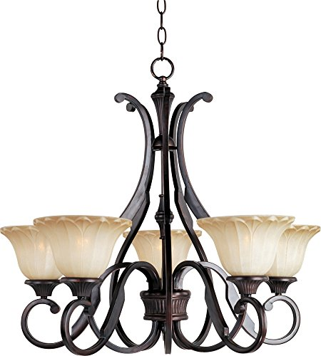 Maxim 13505WSOI Allentown 5-Light Chandelier, Oil Rubbed Bronze Finish, Wilshire Glass, MB Incandescent Incandescent Bulb , 60W Max., Damp Safety Rating, Standard Dimmable, Opal Glass Shade Material, Rated Lumens