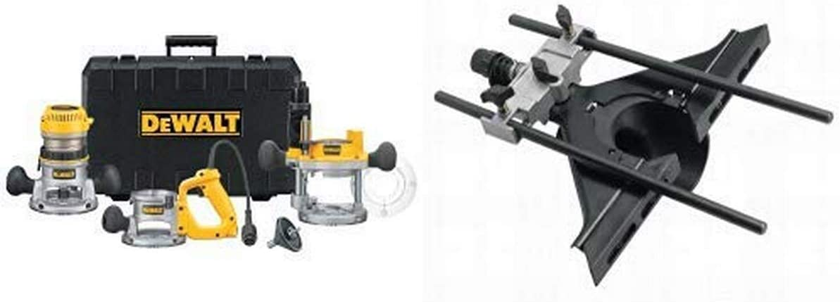 DEWALT DW618B3 12 Amp 2-1/4 Horsepower Plunge Base and Fixed Base with DW6913 Router Edge Guide with Fine Adjustment and Vacuum Adaptor