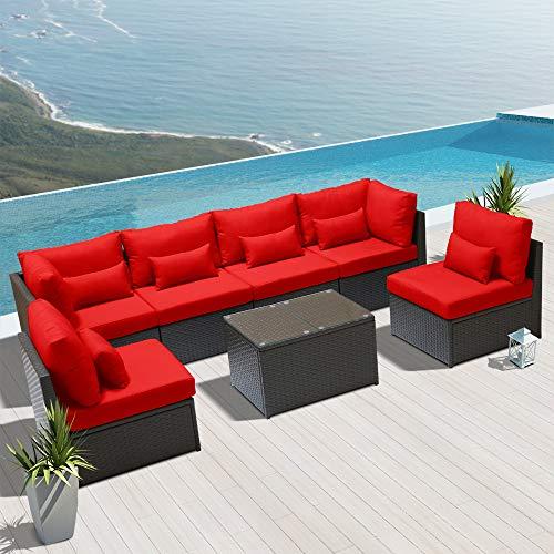 Dineli Outdoor Sectional Sofa Patio Furniture Wicker Conversation
