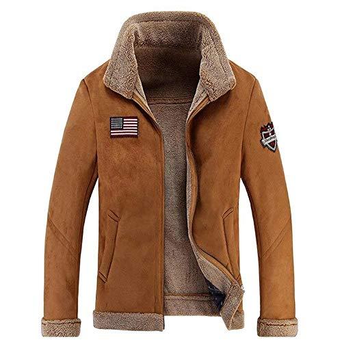 Scamosciata Agnello In Bomber Cappotto Di Khaki Lana Pelliccia Coat Da Giacca Capispalla Ntel Pelle Inverno Uomo twFp8xq4