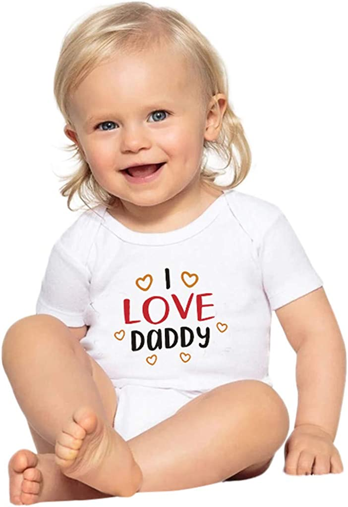 Kehen Infant Newborn Baby Girl Boy Summer T-Shirt I Love Daddy Short Sleeve Cotton Tee Top Summer Outfit