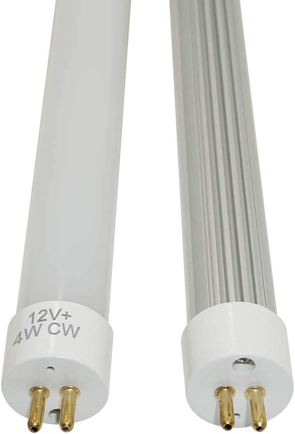 2pcs-Pack t5 G5 LED Fluorescent Tube Light DC12V 1ft 450mm g5 Mini Bi-Pin Base lamp Cold White 6000K, 450mm