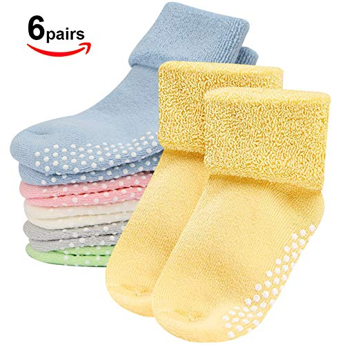 (Baby Socks,Mossio 6 Pack Newborn Socks Non Skid Crew Organic Socks Rubber Bottom 1-3 Years)