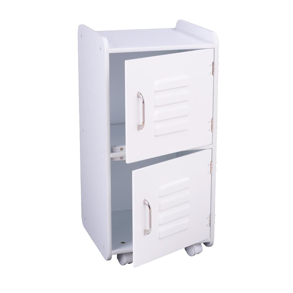 MD Group Kids Locker Safety Home School Storage White Durable MDF Compartment with Caster