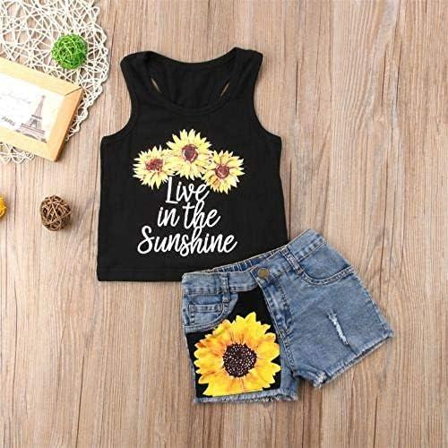 LIXIUQING Sonnenblume Kleinkind Mädchen Anzug Kleidung ärmellose Brief Weste Weste + Shorts Sommer Anzug Kleidung