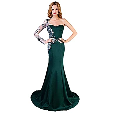 GBWD Womens Evening Dress Long Prom Dress Mermaid Sweetheart Applique Lace Long Sleeve Banquet Green Evening
