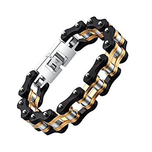 9' Link (Bicycle Bracelet Bike Titanium Chain Men's Jewelry Heavy Silver Gold Stainless Steel Motorcycle Biker Link 9'' (black & gold & silver))