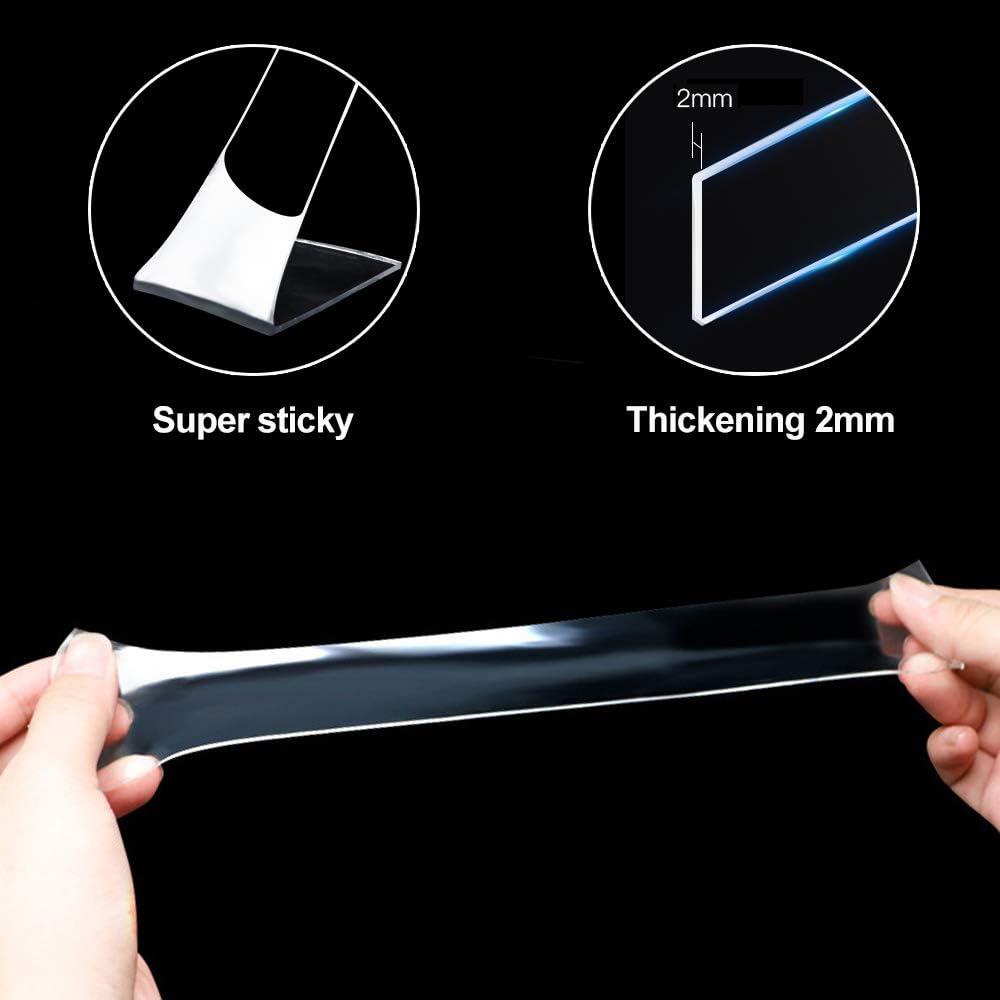 3M Nano Tape Ruban adh/ésif Double Face Multifonctionnel Nano Antid/érapant Transparent Traceless Double-Face Gel Clear Tape Lavable R/éutilisable Ruban Adh/ésif pour Maison