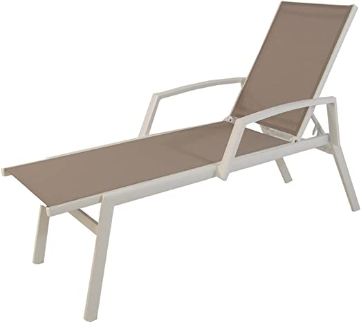Edenjardi Tumbona reclinable de Exterior con Brazos, Tamaño: 195x65x50 cm, Aluminio Blanco y textilene taupé: Amazon.es: Jardín