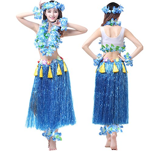 Blue Hawaiian Dress Costume - Valecos Hawaiian Hula Dance Costume Ballet Performance Cosplay Dress Skirt Garland for Adult 80CM Full Sets (Blue)