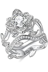 Newshe Jewellery Round White Cz 925 Sterling Silver Flower Wedding Band Engagement Ring Sets